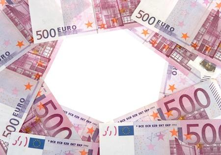 Circle of 500 Euro banknotes