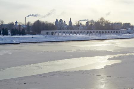 novgorod: Winter View of the Yaroslavs Court in Veliky Novgorod, Russia.