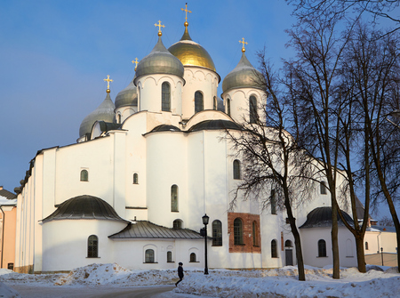 oldest in Russia Cathedral of St. Sophia. Veliky Novgorod at sunny winter day