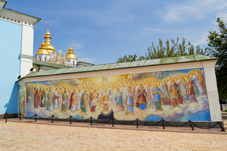 Beauty wall painting of St. Michaels Golden-Domed Monastery cathedral , Kyiv, Ukraine Editorial
