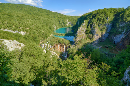 Fantastic view in the Plitvice Lakes National Park . Croatia bright sunny day Stock Photo