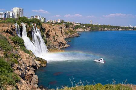 Wonderful rainbow on Duden river Waterfall  in Antalya, Turkey