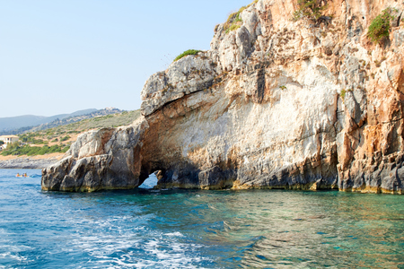 Blue caves at bright sunny day Zakinthos island, Greece