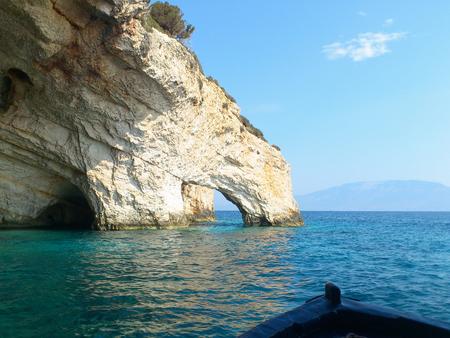 Blue caves at bright sunny day Zakinthos island, Greece