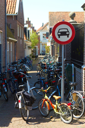 Holland city street no cars road sign: pedal cycles only bikes parking