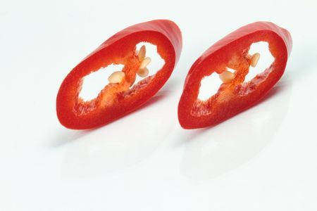 Two slices of red chili