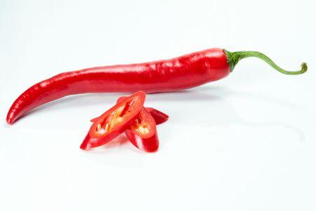 Red chili and three chili slices