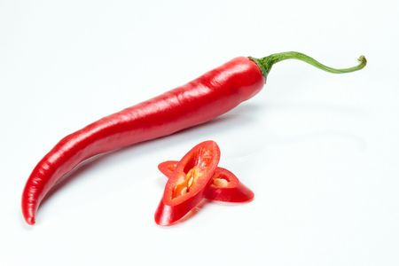 Red chili and two chili slices