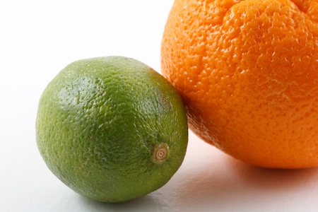 Orange and lime on white