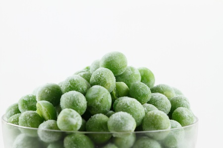peas: Frozen peas in small glass