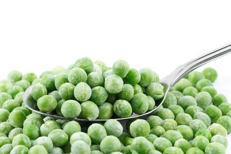 Frozen peas on a spoon