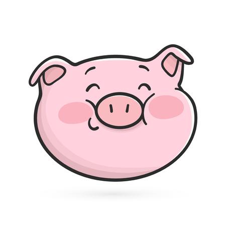 Shyly smiling emoticon icon. Cute emoji pig Illustration