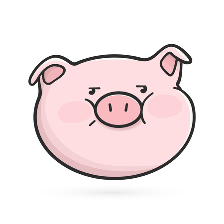 Disgruntled emoticon icon. Emoji pig with unhappy face Stock Photo