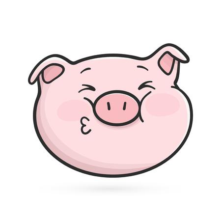Kissing emoticon icon. Squinted emoji pig is sending a kiss
