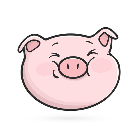 Emoticon icon with squinting eyes. Cute emoji pig is squinting.