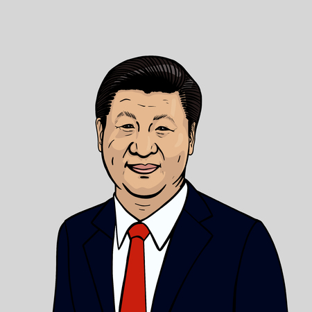 Vector portrait of Xi Jinping. General Secretary of the Communist Party of China.