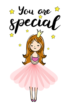 Cute little princess is cuddeling yourself. You are special text. Vector isolated illustration
