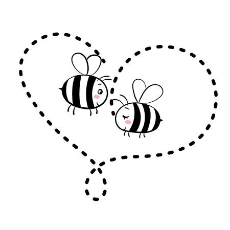 Dos abejas enamoradas. Vector ilustración aislada