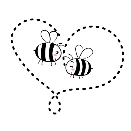 Zwei verliebte Bienen. Isolierte Vektorgrafik