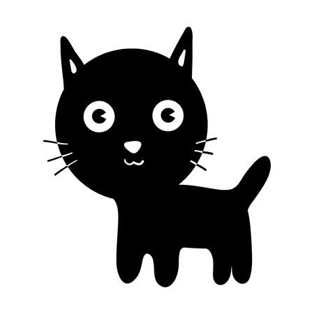 Little black kitten. Cute cat. Vector isolated illustration.