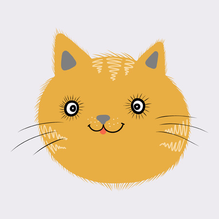 Little ginger kitten on a gray background. Vector isolated illustration Stock Photo