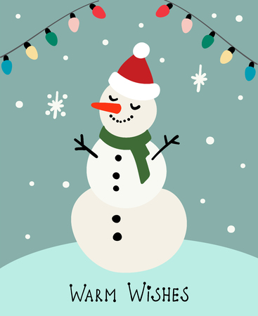 Cartoon invitation card. Snowman on light backdrop. Warm wishes. Vector new year illustration Çizim