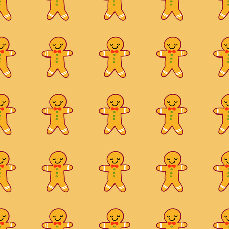 Vector winter pattern for decoration design with gingerbread man. New year background decoration Stock Photo