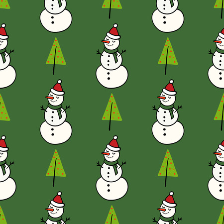 Vector winter pattern for decoration design with snowman and Christmas tree. Happy new year background decoration