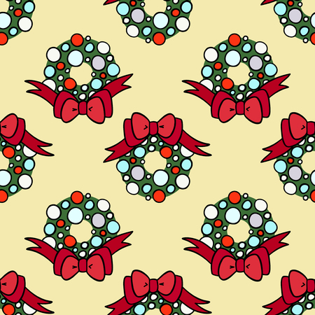 Vector seamless pattern for decoration design. Christmas wreath on yellow backdrop