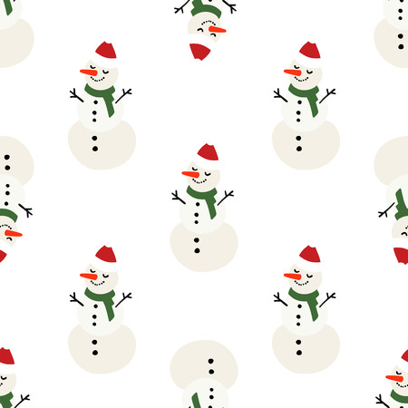 Vector winter pattern for decoration design with snowman on a light background. Winter background decoration Stock Photo