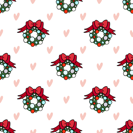 Vector seamless pattern for decoration design. Christmas wreath with hearts on light backdrop