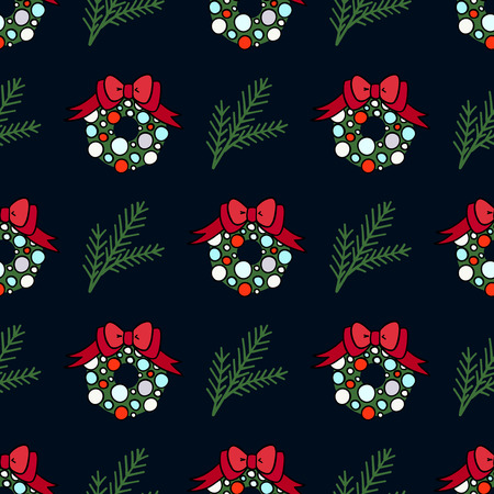 Vector seamless pattern for decoration design. Christmas wreath with a branch of pine tree on dark backdrop Stock Photo