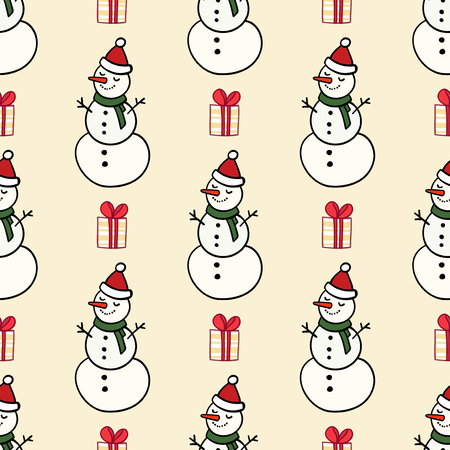 Vector winter pattern for decoration design with snowman and presents. New year background decoration