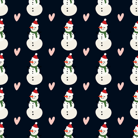 Vector winter pattern for decoration design with snowman and heart on a dark background. Winter background decoration