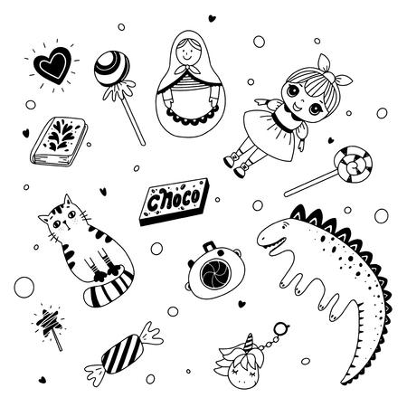Juguetes y dulces para niños. Ilustración en blanco y negro para colorear libro. Ilustración de contorno vectorial