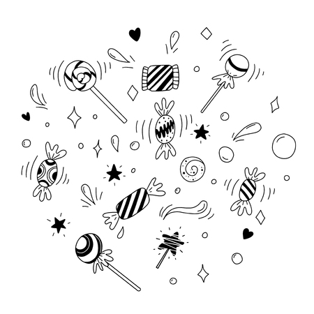 Sweets and lollipops. Black and white illustration for coloring book. Vector outline illustration
