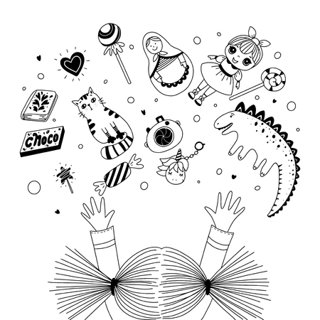 Girls reaching her arms to toys. Kids toys and sweets. Black and white illustration for coloring book. Vector outline illustration Stock Illustratie