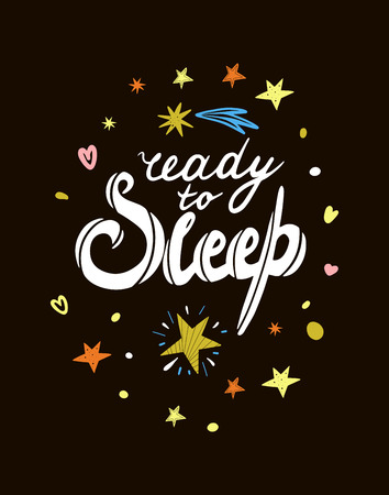 Ready to sleep lettering with stars on a dark background