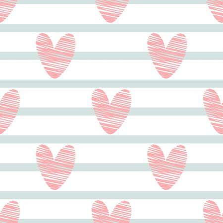 Seamless pattern with pink hearts and strips.