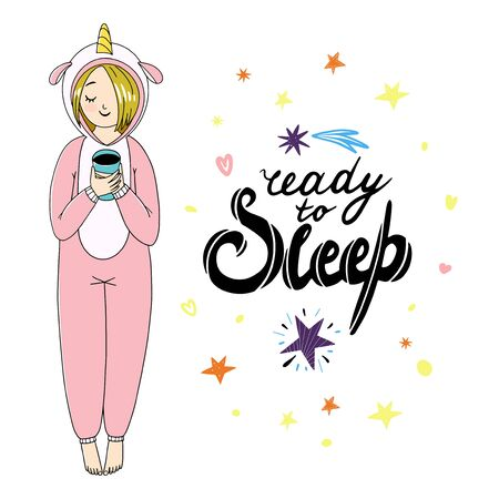 Girl's wearing sleepwear and holding a cup of tea. Black and white outline isolated illustration on a white background
