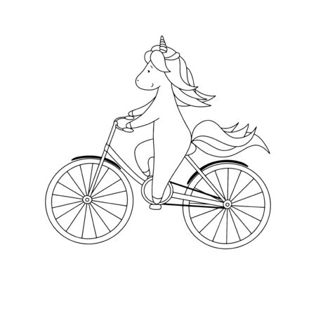 Cute little unicorn is riding a bicycle. Black and white hand drawn vector illustration for coloring book.