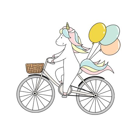 Cute little unicorn is riding a bicycle with balloons. Hand drawn vector illustration