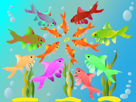 Multicolored fishes have seen a ring Ilustração