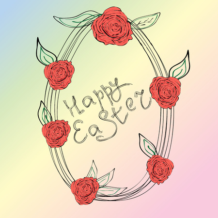 Easter egg with roses drawn by a contour