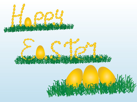Happy easter With a rabbit and eggs Illustration