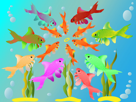 Multicolored fishes have seen a ring Illustration