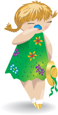 nature one painted: A girl in a green dress with hat sniffs a flower.