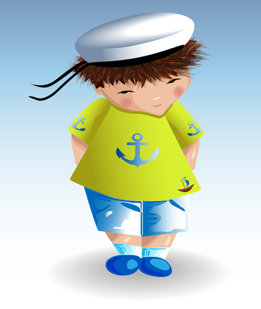 A sailor boy in a white naval hat, a green T-shirt with a painted anchor. Recreation, marine theme