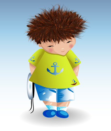 A sailor boy in a white naval hat, a green T-shirt with a painted anchor, blue shorts. Recreation, marine theme