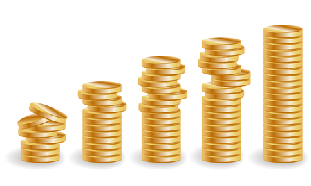 deposit slips: Five stacks of gold coins, an increasing income Illustration